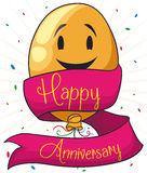 Cute Smiling Balloon for the Anniversary Party, Vector Illustration. Tender yellow smiling balloon with a ribbon around it celebrating the anniversary party Royalty Free Stock Photos