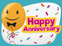 Cute Smiling Balloon Ready for the Anniversary Party, Vector Illustration Royalty Free Stock Photography