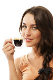 Cute smiling beautiful woman with a cup of espress Stock Photos