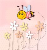 Cute smiling bee with flowers-dots background Royalty Free Stock Image