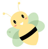 Cute  smiling bee  on white Stock Photo