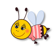 Cute smiling bee- on white Royalty Free Stock Photo