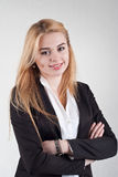 Cute smiling blond business woman Royalty Free Stock Photography