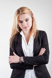 Cute smiling blond business woman Stock Image