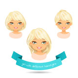 Cute smiling blonde with different hairstyles. Set of different hairstylesof a girl: long hair, bob, tail. Cartoon girl with different hairstyles. Vector Stock Photo