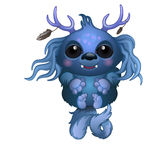 Cute smiling blue monster with horns and big eyes Stock Image