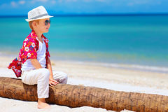 Cute smiling boy sitting on palm wood at sandy beach royalty free stock photos