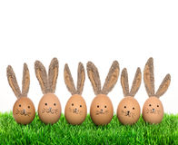 Cute smiling bunnies easter eggs with big ears Royalty Free Stock Photography