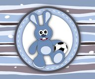 Cute smiling bunny label card in blue and brown Royalty Free Stock Photography