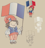 Cute smiling cartoon boy in sans culottes costum Royalty Free Stock Image