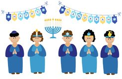 Cute smiling children celebrating Hanukkah royalty free illustration
