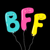 Cute smiling cartoon characters of letters BFF Best Friends Forever as party balloons Royalty Free Stock Images