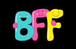 Cute smiling cartoon characters of letters BFF Best Friends Forever. Can be used as banner or greeting card for World Friendship Day, National Best Friends Day Royalty Free Stock Image