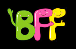 Cute smiling cartoon characters of letters BFF Best Friends Forever Stock Images