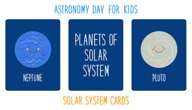 Cute smiling cartoon characters of planets of solar system. Childish background Stock Photos