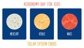 Cute smiling cartoon characters of planets of solar system. Childish background Royalty Free Stock Photo