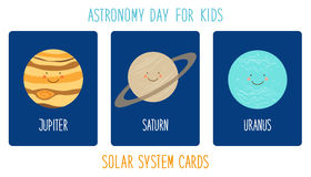 Cute smiling cartoon characters of planets of solar system. Childish background Royalty Free Stock Images