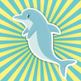 Cute smiling cartoon dolphin  on bright sunburst Royalty Free Stock Photography