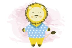 Cute smiling cartoon lion in blue shirt - vector illustration stock illustration