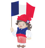 Cute smiling cartoon young man in sans culottes costume Stock Photography
