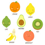 Cute smiling characters of fruits. For your decoration vector illustration