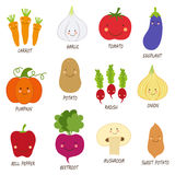 Cute smiling characters of veggies Royalty Free Stock Photo