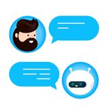 Cute smiling chat bot is written off. With a person man. Vector flat modern style cartoon character illustration icon design. Isolated on white background. Chat vector illustration