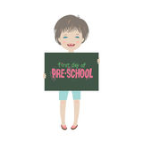 Cute smiling child first day of pre-school illustration. Cute smiling child holding mini blackboard with lettering first day of pre-school isolated on white Royalty Free Stock Photos
