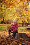Cute smiling child girl on the walk sitting with autumn leaves bouquet Stock Image