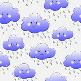 Cute smiling clouds with rain. Seamless pattern Royalty Free Stock Image