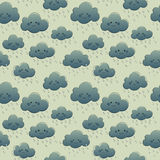 Cute smiling clouds with rain. Seamless pattern Royalty Free Stock Photo