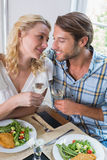 Cute smiling couple enjoying a meal together Royalty Free Stock Photography