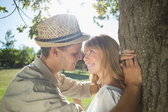 Cute smiling couple leaning against tree in the park Stock Photography