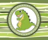 Cute smiling dinosaur label card Royalty Free Stock Photo