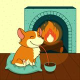 Cute smiling dog of welsh corgi drinks hot chocolate with a fireplace. Vector illustration. For cards, calendars stock illustration