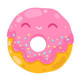 Cute smiling donut. cartoon food illustration Stock Photography