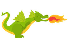 Cute smiling dragon with fire Royalty Free Stock Images