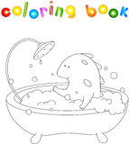 Cute smiling dragon taking bath with foam. Vector illustration f Stock Photo
