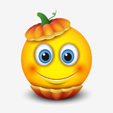 Cute smiling emoticon in Halloween pumpkin, emoji -  illustration Royalty Free Stock Photos