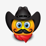Cute smiling emoticon with mustache wearing cowboy hat and red scarf emoji, smiley - vector illustration Stock Photo