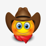 Cute smiling emoticon wearing cowboy hat, emoji, smiley - vector illustration Royalty Free Stock Photography