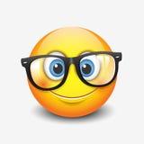 Cute smiling emoticon wearing eyeglasses, emoji, smiley - vector illustration Royalty Free Stock Photography