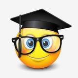 Cute smiling emoticon wearing mortar board and eyeglasses, , emoji, smiley - vector illustration Royalty Free Stock Image