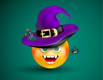 Cute smiling face emoticon viciously laughing wearing witch purple hat with scary decor of spider on cobweb and poisonous mushroom. S on dark green background royalty free illustration