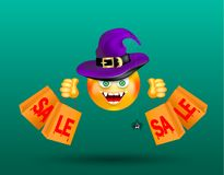 Cute smiling face emoticon wearing witch purple hat with scary decor of spider on cobweb and holding shopping bags with bloody red. Text sale on dark green vector illustration