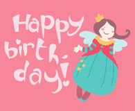Cute smiling fairy happy birtdhay card Stock Image
