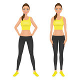 Cute smiling fit girl with hands on the hips. Young woman in yellow leggings and crop top. Character vector illustration Stock Photos