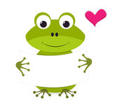 Cute smiling frog holding a blank sign Royalty Free Stock Photography