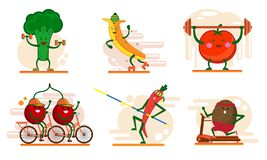 Cute smiling fruits and berry characters involved in sports , set of flat cartoon style vector illustrations isolated stock illustration