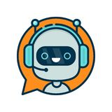 Cute smiling funny robot chat bot. In speech bubble. Vector modern flat cartoon character illustration.Isolated on white background.Voice support service chat Stock Images